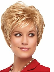 cheap -Bangs Curly Pixie Cut Wig Blonde Short Light golden Synthetic Hair 12 inch Women's Lustrous Classic Women Blonde