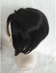 cheap -Human Hair Lace Front Wig Asymmetrical style Brazilian Hair Straight Black Wig 130% Density Lovely Women's Short Others