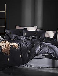 cheap -Duvet Cover Sets Luxury / Contemporary Cotton Printed 4 PieceBedding Sets / 4pcs (1 Duvet Cover, 1 Flat Sheet, 2 Shams)