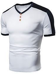 cheap -Men's Sports Bike Daily Wear Basic EU / US Size T-shirt - Solid Colored / Color Block Patchwork V Neck Black / Short Sleeve
