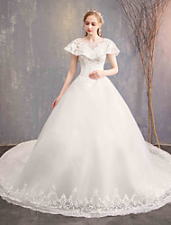 cheap -Ball Gown Jewel Neck Chapel Train Lace / Lace Over Satin Short Sleeve Made-To-Measure Wedding Dresses with Lace 2020 / Illusion Sleeve