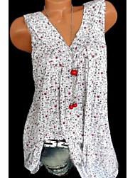 cheap -Women's Tank Top - Floral Print V Neck Black