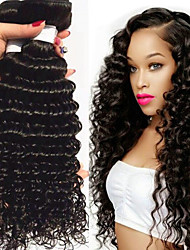 cheap -3 Bundles Brazilian Hair Deep Wave Remy Human Hair Natural Color Hair Weaves / Hair Bulk Human Hair Extensions 8-28 inch Natural Color Human Hair Weaves Gift Cosplay Soft Human Hair Extensions