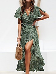 cheap -Women's Basic Asymmetrical Slim Sheath Dress - Polka Dot Print Deep V Black Green S M L XL