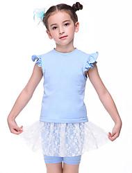 cheap -Kids' Dancewear / Ballet Outfits Girls' Training / Performance Cotton Lace / Split Joint Short Sleeve Natural Dress / Shorts