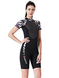 cheap -Women's Shorty Wetsuit 1.5mm SCR Neoprene Diving Suit Quick Dry High Elasticity Short Sleeve Back Zip Patchwork Autumn / Fall Spring Summer / Stretchy