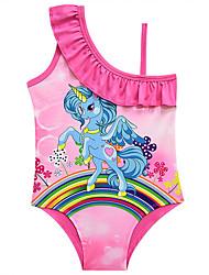 Недорогие -Дети Дети (1-4 лет) Девочки Активный Симпатичные Стиль Unicorn С принтом Без рукавов Купальник Розовый