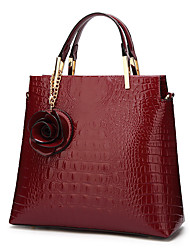 cheap -Women's PU Leather Tote Leather Bags Crocodile Wine / Black / Dark Blue