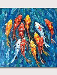 cheap -Oil Painting Hand Painted Animal Koi Pond Abstract Canvas Art Rolled Canvas Rolled Without Frame