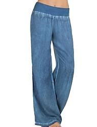 Недорогие -Жен. Классический Большие размеры Широкие Брюки - Однотонный Черный Синий S / M / L