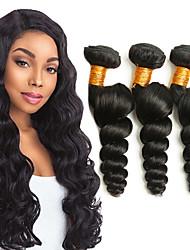 cheap -3 Bundles Indian Hair Loose Wave Virgin Human Hair Natural Color Hair Weaves / Hair Bulk Extension Bundle Hair 8-28 inch Natural Human Hair Weaves Valentine Gift Cute Human Hair Extensions Women's