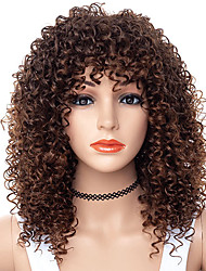 cheap -Synthetic Wig Afro Curly Free Part Wig Medium Length Brown / Burgundy Synthetic Hair 18 inch Women's Women Synthetic For Black Women Brown
