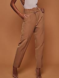 cheap -Women's Basic Suits Pants - Solid Colored High Waist Yellow Fuchsia Khaki L XL XXL