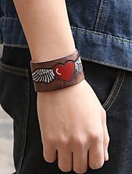 cheap -Men's Leather Bracelet Bracelet Wide Bangle Retro Totem Series Heart Punk Fashion Leather Bracelet Jewelry Coffee / Brown For Gift Street Bar