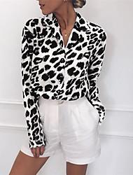 cheap -Women's Leopard Blouse Basic Daily Shirt Collar White / Blushing Pink / Brown / Gray