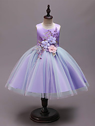 cheap -Kids Girls' Active Sweet Floral Patchwork Sleeveless Knee-length Dress Blue