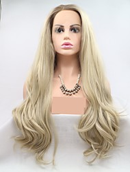 cheap -Synthetic Lace Front Wig kinky Straight Layered Haircut Lace Front Wig Blonde Long Light golden Synthetic Hair 24 inch Women's Women Ombre Hair Blonde Sylvia
