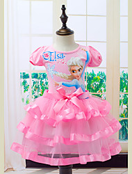 cheap -Princess Dress Cosplay Costume Masquerade Girls' Movie Cosplay A-Line Slip Cosplay Halloween Blue / Pink Dress Halloween Carnival Masquerade Tulle Cotton