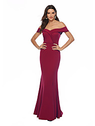 cheap -Mermaid / Trumpet Elegant & Luxurious Sexy Prom Formal Evening Dress Off Shoulder Sleeveless Floor Length Stretch Satin with Split Front 2020