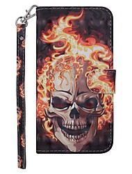 cheap -Case For Nokia Nokia 7.1 / Nokia 6 2018 / Nokia 5 Wallet / Card Holder / with Stand Full Body Cases Skull Hard PU Leather