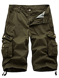 cheap -Men's Stylish Cycling Outdoor Casual Straight Shorts Tactical Cargo Pants Solid Color Knee Length Classic Sporty Zipper Pocket Wine Red White gray Baolan Black khaki / Summer