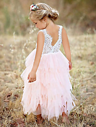 cheap -Kids Girls' Sweet Birthday Party Pink Solid Colored Lace Mesh Sleeveless Knee-length Dress White