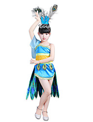 cheap -Super Heroes Dress Cosplay Costume Flower Girl Dress Kid's Girls' A-Line Slip Cosplay Halloween Halloween Carnival Masquerade Festival / Holiday Feather Polyster Blue Carnival Costumes Color Block