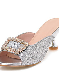 cheap -Women's Synthetics Summer Sandals Kitten Heel Peep Toe Rhinestone / Sequin Gold / Silver / Pink / Party & Evening