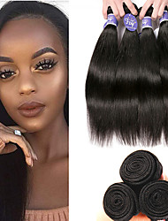 cheap -3 Bundles Indian Hair Straight Remy Human Hair 100% Remy Hair Weave Bundles Natural Color Hair Weaves / Hair Bulk Extension Bundle Hair 8-28 inch Natural Human Hair Weaves Party Classic Easy dressing
