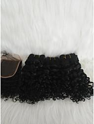 Недорогие -Волосы для кос Кудрявый Плетение Натуральные волосы 4 предмета косы волос Черный 14 дюймы Удлинитель Молодежный Свидание Для улицы Малазийские волосы