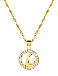cheap -Women's Clear AAA Cubic Zirconia Pendant Necklace Necklace Charm Necklace X Letter Simple Fashion 18K Gold Plated Brass Platinum Plated Black Silver Rose Gold 55 cm Necklace Jewelry 1pc For Gift
