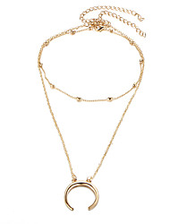 cheap -Women's Pendant Necklace Layered Necklace Double Layered Moon double horn Simple European Trendy Chrome Gold Silver 43.5+9.5 cm Necklace Jewelry 1pc For Street Going out Work
