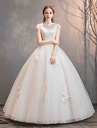 cheap -Ball Gown High Neck Floor Length Lace / Tulle Short Sleeve Made-To-Measure Wedding Dresses with Beading / Appliques 2020
