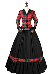 cheap -Princess Rococo Victorian Dress Party Costume Costume Women's Cotton Costume Red+Black Vintage Cosplay Masquerade Party & Evening Long Sleeve Floor Length Long Length Plus Size