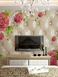 cheap -Wallpaper / Mural / Wall Cloth Canvas Wall Covering - Adhesive required Floral / Botanical / Art Deco / 3D