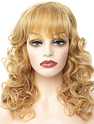 cheap -Synthetic Wig Bangs Loose Curl Middle Part Neat Bang Wig Blonde Long Black / Gold Synthetic Hair 18 inch Women's Fashionable Design Women Synthetic Blonde
