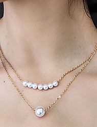 cheap -Women's Necklace Charm Necklace Imitation Pearl Chrome Gold Silver 41 cm Necklace Jewelry 1pc For Daily Holiday School Street Festival