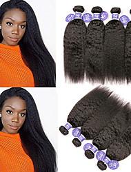 abordables -Lot de 4 Cheveux Malaisiens Droit Yaki Cheveux humains Naturels Non Traités Paquets de 100% Remy Hair Weave Casque Tissages de cheveux humains Bundle cheveux 8-28 pouce Naturel Tissages de cheveux