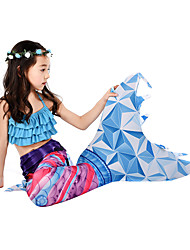 cheap -Cosplay Costume Swimwear Bikini The Little Mermaid Mermaid Tail Aqua Princess The Little Mermaid Kid's Lycra® Cosplay Costumes Mermaid and Trumpet Gown Slip Cosplay Blue Mermaid Christmas Halloween