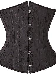 cheap -Women's Hook & Eye Underbust Corset - Solid Colored / Geometric, Modern Style / Basic Black White XS S M