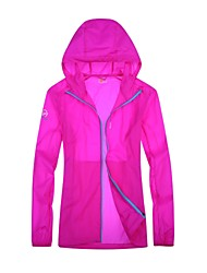 cheap -Women's Hiking Skin Jacket Hiking Jacket Outdoor Sunscreen Breathable Ventilation Ultra Light (UL) Hoodie Top Double Sliders Beach Camping / Hiking / Caving Traveling Fuchsia / Peach / Light Blue