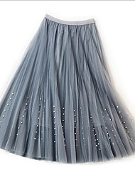 cheap -Women's Tutus / Beaded Swing Skirts - Solid Colored Mesh / Long Blushing Pink Beige Gray One-Size