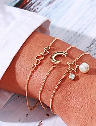 cheap -3pcs Women's Vintage Bracelet Earrings / Bracelet Pendant Bracelet Layered Moon Heart Star Simple Classic Vintage Fashion Imitation Pearl Bracelet Jewelry Gold For Daily School Street Going out