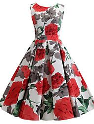 cheap -Women's Vintage A Line Dress Print Red S M L XL
