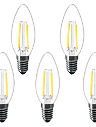 cheap -5pcs 1.5 W LED Candle Lights LED Filament Bulbs 200 lm E14 C35 2 LED Beads High Power LED Decorative Warm White 220-240 V 220 V 230 V
