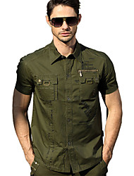 cheap -Men's Hiking Tee shirt Short Sleeve Outdoor Breathable Quick Dry Sweat-wicking Comfortable Tee / T-shirt Top Autumn / Fall Spring Cotton Hunting Military / Tactical Camping / Hiking / Caving Green