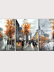 cheap -Print Rolled Canvas Prints - Abstract Landscape Classic Modern Three Panels Art Prints