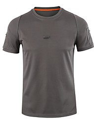 cheap -Esdy Men's Solid Color Hiking Tee shirt Short Sleeve Outdoor Moisture Wicking Quick Dry High Elasticity Tee / T-shirt Top Summer Cotton Blend Crew Neck Army Green Grey Khaki Fishing Climbing Camping