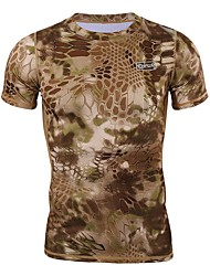 cheap -Esdy Men's Camo Hiking Tee shirt Short Sleeve Outdoor Breathable Moisture Wicking Quick Dry High Elasticity Tee / T-shirt Top Summer Spandex Terylene Crew Neck Army Green Grey Camouflage Camping