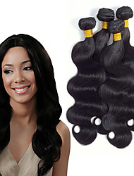 Недорогие -4 Связки Индийские волосы Естественные кудри Необработанные натуральные волосы 200 g Человека ткет Волосы Удлинитель Пучок волос 8-28inch Естественный цвет Ткет человеческих волос